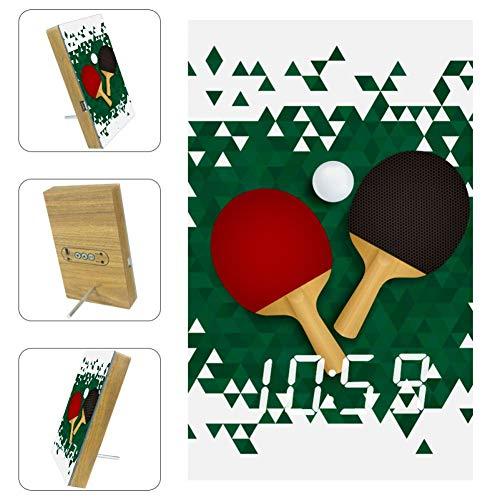 Vockgeng Tischtennisschläger LED Digitaler Wecker mit USB-Ladeanschlussdatum und Sprachsteuerungsfunktion, geeignet für Kinder und Erwachsene 16x9.8x2.2 cm
