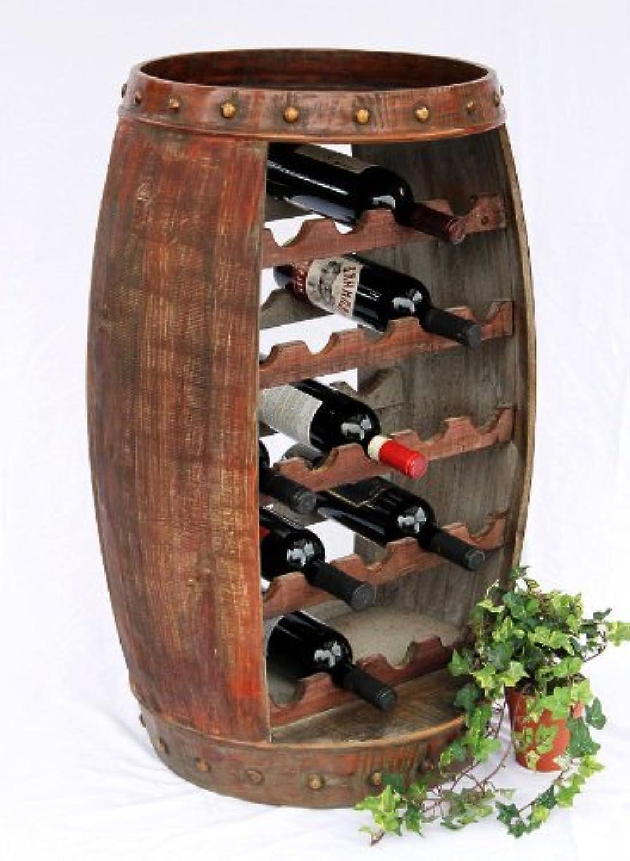 DanDiBo Weinregal Weinfass 0370-R Fass aus Holz H-81 cm Flaschenstnder Braun Bar Weinba