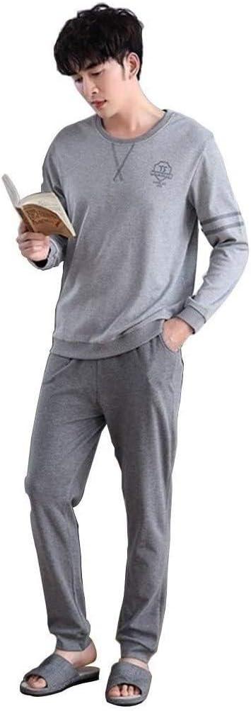Samanthaa Fashion Pajamas Mens Long Sleeve Pajama Set Soft Cotton Pullover Sleepwear Lightweight Two Piece Nightwear (Color : B, Size : Large)