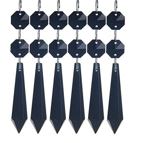 H&D Kristall Glas Eiszapfen Anhänger/Behang/Pendel für Kronleuchter, Lüster und Leuchter, Prisma Tropfen, 55 mm, Schwarz, 10 Stück