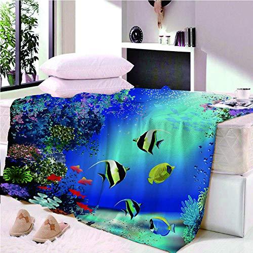 YASHASHII- Underwater World-Fish Printed Flannel Fleece Blanket for Adult Children,3D Animal Design Bed Blanket,Soft Warm Microfiber Bedding for Bed Couch,150 * 200CM