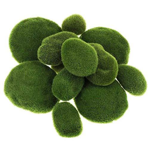 15 Stück Künstliche Moossteine, Künstlicher Stein für Moos, Grüne Moosbälle, Künstliche Moosfelsen Dekorative, für Blumenarrangements, Märchengärten, Terrarien & Basteln