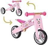 BIKESTAR Vélo Draisienne Enfants et Tricycle en Bois pour Garcons et Filles de 18 Mois | Vélo sans pédales Mini (Combinaison 2 et 3 Roues) évolutive 7 Pouces | Rose