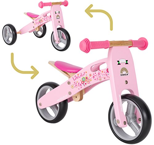 BIKESTAR Mini Kinder Laufrad Holz Lauflernrad mit DREI Rädern für Jungen und Mädchen ab 1 – 1,5 Jahre | 2 in 1 Kinderlaufrad | Flamingo Pink | Risikofrei Testen
