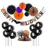Easy Joy Happy Halloween Decoration Kit Ballon Deco Orange Noir Violet + Centre de Table Happy Halloween
