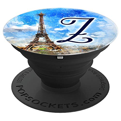 Watercolor Paris Eiffel Tower Initial Monogram Letter Z PopSockets Grip and Stand for Phones and Tablets