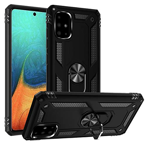 A51 5G Case,ADDIT Samsung Galaxy A51 5G Case Military Grade Protective Samsung A51 5G Cases Cover with Ring Car Mount Kickstand for Samsung Galaxy A51 5G - Black