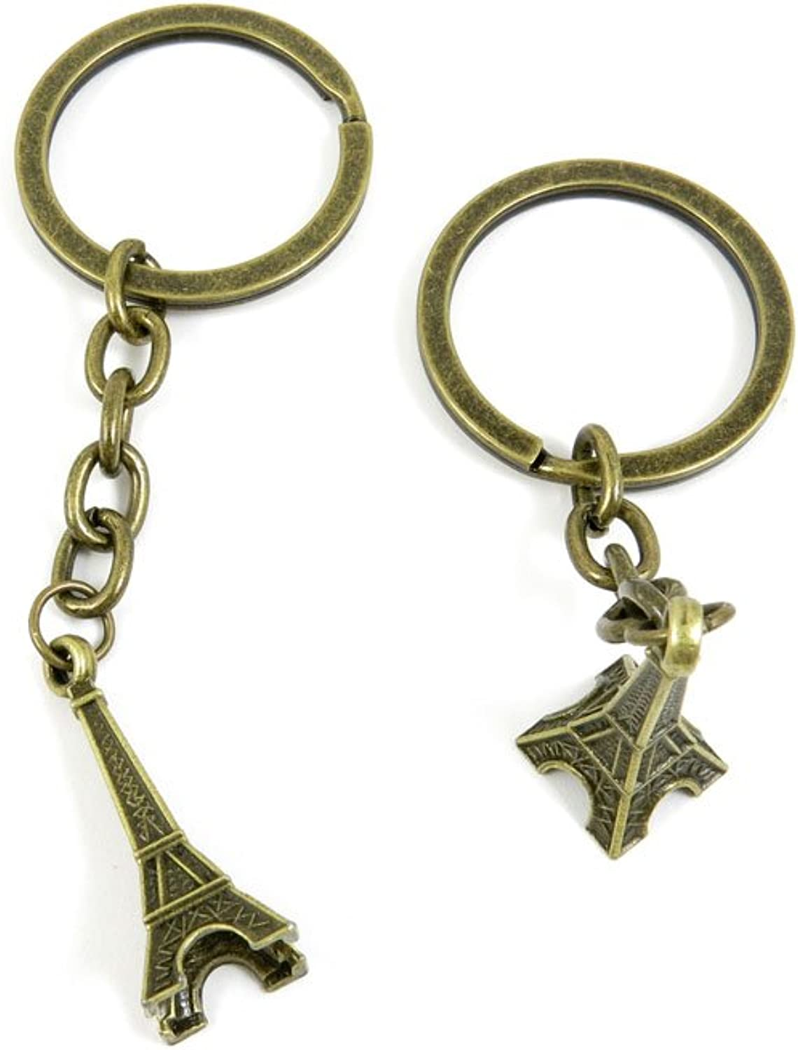 100 PCS Keyrings Keychains Key Ring Chains Tags Jewelry Findings Clasps Buckles Supplies V6BU7 Paris Eiffel Tower