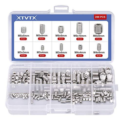 XTVTX 200 piezas Juego de llaves de vaso con cabeza hexagonal Allen...
