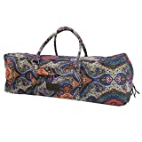 Kindfolk Yoga Mat XL Duffel Bag Extra Large Patterned Canvas with Pocket and Zipper