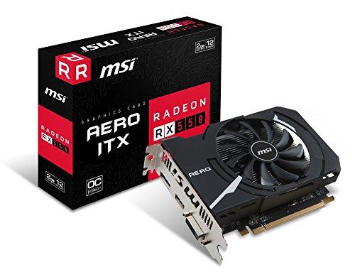 MSI Radeon RX 550 Aero ITX OC 2GB AMD GDDR5 1x HDMI, 1x DP, 1x DL-DVI-D, 2 Slot Mini PC Afterburner OC, AMD FreeSync, Grafikkarte