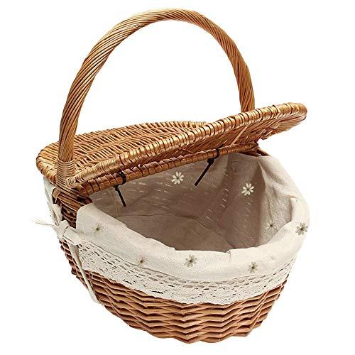 Almondle Wicker Picknickkorb Korb mit Griff und Doppeldeckel Handgemachte gewebte Weide Camping Lebensmittel Vorratsbehälter Geschenkkorb Retro Einkaufskorb