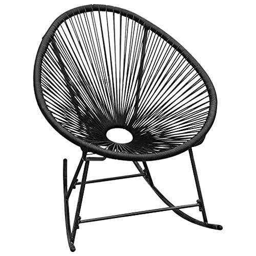vidaXL Chaise à Bascule d'Extérieur Siège de Patio Chaise de Terrasse Siège de Patio Chaise de Jardin Arrière-cour Noir Résine Tressée