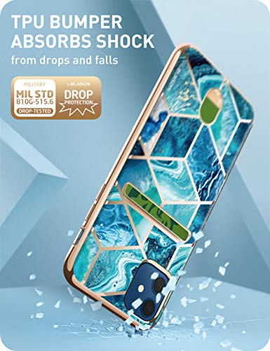 i-Blason Cosmo Wallet Case for iPhone 12, iPhone 12 Pro 6.1 inch (2020 Release), Slim Designer Wallet Protective Case with Card Holder (Ocean)