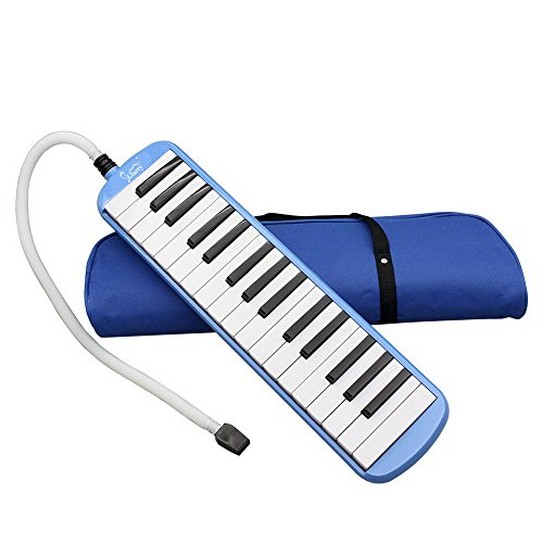 Kuyal 32 Key Melodica, Piano Style Melodica Keyboard, Musical Education Instrument For Music Lovers Beginners And Children With Mouthpiece & Hose & Bag (Blue)