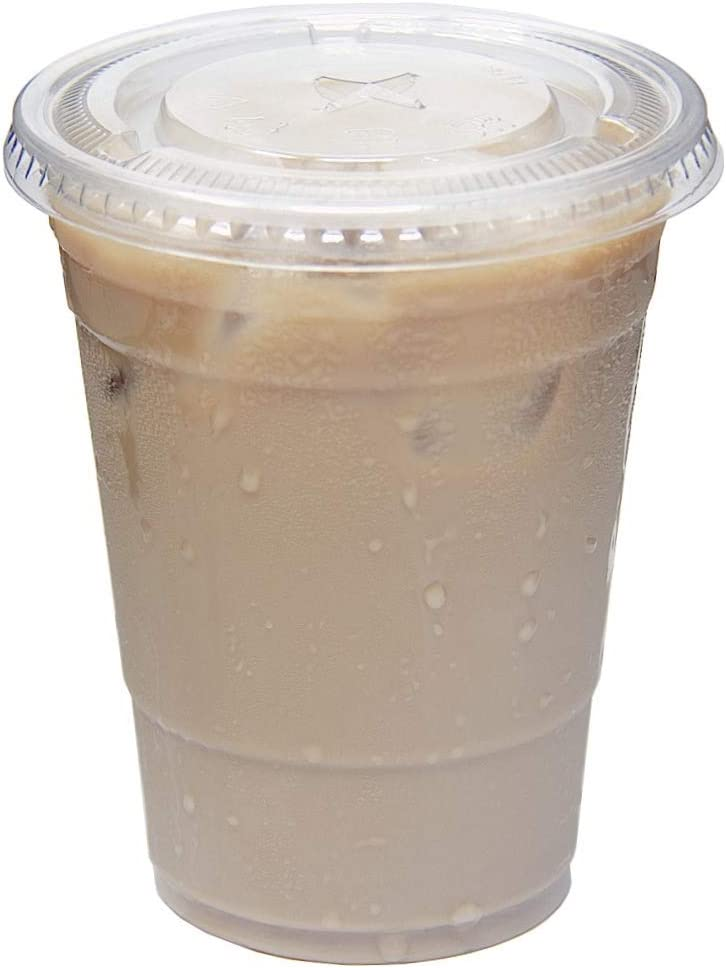 16 oz. Crystal Ranking TOP10 Clear Ranking TOP8 Plastic PET BP Lids Cups with Straw Slot