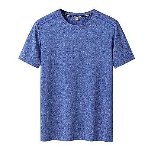 DamaiOpeningcs Camiseta De Compresion,Men Plus Fertilizer para Aumentar la Velocidad de Media Manga de Cuello Redondo con Cuello Redondo Súper Suave Camiseta elástica-Azul_9XL