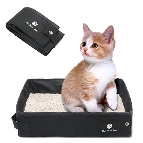 SEHOO折り畳み可能 猫のトイレ 大型 携帯便利 ポータブルトイレ ペット用品 車載にも適用 撥 水 収納可能 消臭(S,ブラック)