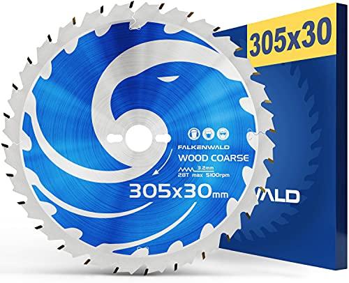 FALKENWALD® Sägeblatt 305x30 Holz Kappsäge kompatibel mit Bosch GCM 12 GDL - Holz Sägeblatt 305 aus hochwertigem Hartmetall - Kreissägeblatt 305x30 mit 28 Hartmetallzähnen