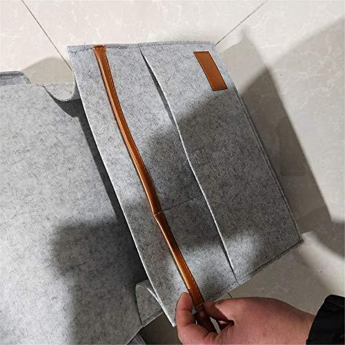 WEIHEEE Bolsa organizadora para mesita de noche con soporte para botellas de agua, organizador de sofá, cama, color gris claro, 87,6 x 24 cm