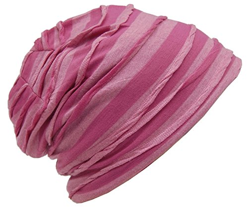Cool4 Vintage 2 kleuren Beanie Stripes Roze-Roze Slouch Retro stijlvolle muts Cap Hoed VSB25