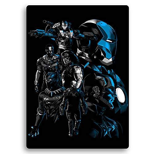 carowall CAROWALL.COM Cuadro Cartel metalico Avengers Arte para el Dormitorio Azúl 50x70 cm