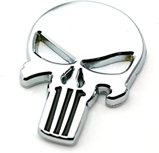 New Motorcycle Emblem Skeleton Metal Decal Devil Skull Badge 3D Car Sticker(silver)