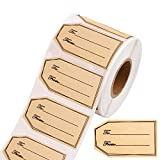 Gukasxi 500Pcs 1.18'x2' Brown Kraft Label Stickers, to and from Brown Kraft Gift Tag Sticker Holiday Present Sticker Labels, Self-Adhesive Gift Present Stickers Lable Blank Label Stickers