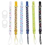Gudotra(8pack)6pcs Cadena de Chupetes Ajustable de 6 Colores Diferentes con 2pcs...