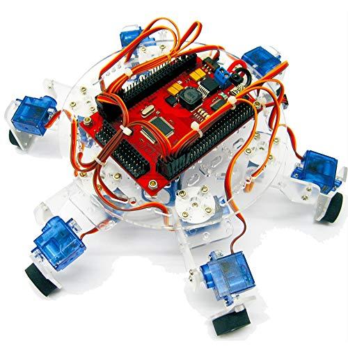 TMIL Kit Programmabile Robot del Ragno, di Sostegno Controllo Radiofonico, 6-Legged Piattaforma Spider Robot con 12 9G Servi, C Lingua Compilation Ambiente, Compatibile con Arduino