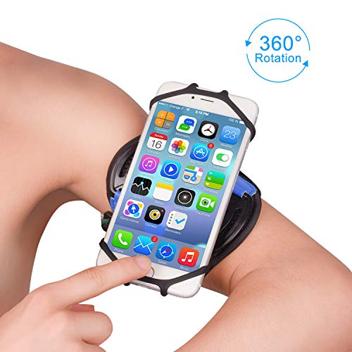 Running Armband,Phone Armband,Super Breathable Sports Arm Band for iPhone X/XS/XR/XS Max/8//7/6/6S Plus, Galaxy S9/ S9 Plus/S8/S7, 360°Rotatable Running Armband with Key Holder Hiking Cycling (Blue)