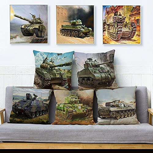 Funda de cojín Juego de 5 Piezas Funda de Almohada para sofá Funda de Tanque de Dibujos Animados de Lino Patrón de vehículo Decoración del hogar Funda de Almohada 45X45Cm