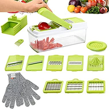 Mandoline Slicer, ABBTO 8-in-1 Multi Grater with Storage Container and Lid, Vegetable Chopper Dicer, Julienne Slicer, Lemon Juice Squeezer, Interchangeable Blades, 1 Pair FREE Cut Resistant Gloves