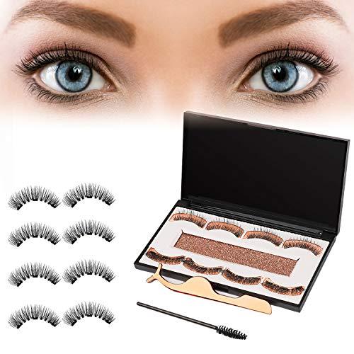 Magnetische Wimpern 3D Falsche Wimpern Wiederverwendbar Handgefertigte Künstliche Wimpern Weiche Magnet Wimpern Set Natürlichen Look für Makeup 2 Paar 8 Stück