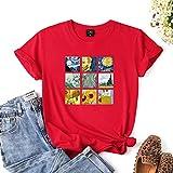 LXHcool Mujeres Van Gogh Impresión Camisetas Ocasionales túnica de Cuello Redondo Manga Corta de Verano Tops (Color : Red, Size : S)