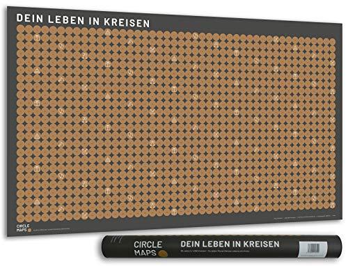 CIRCLE MAPS Lebens-Kalender als Rubbelkarte - Poster mit 1.080 Kreisen - für jeden Monat Deines Lebens EIN Kreis zum frei-rubbeln 91 x 53 cm