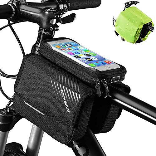 """ROCKBROS Fahrrad Rahmentasche Oberrohrtasche mit Handytasche Seitentasche Sensitiver Touchscreen für iPhone X Xs Max iPhone 7 8 Plus Handys bis zu 6,0"""" mit Regenschutz"""