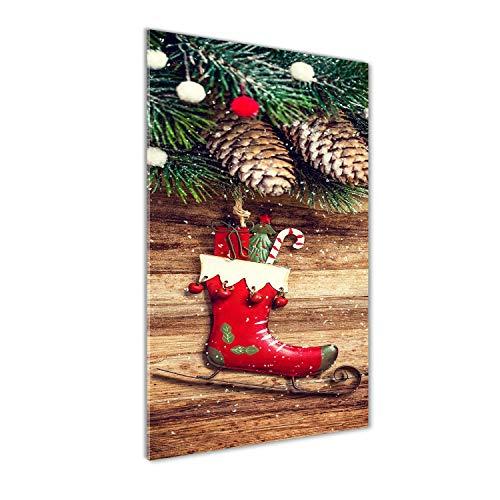 Tulup - Impresión sobre cristal de 70 x 140 cm, imagen decorativa panorámica para la cocina y el salón – Celebración y religión – Decoración de Navidad – Rojo