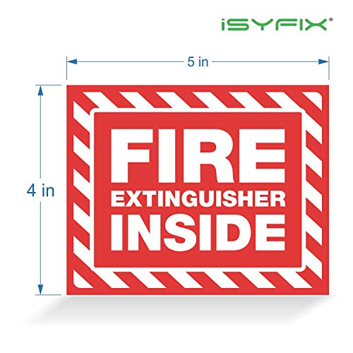 Fire Extinguisher Inside Signs Stickers – 5 Pack 5x4 Inch – Premium Self-Adhesive Vinyl, Laminated for Ultimate UV, Weather, Scratch, Water and Fade Resistance, Indoor and Outdoor