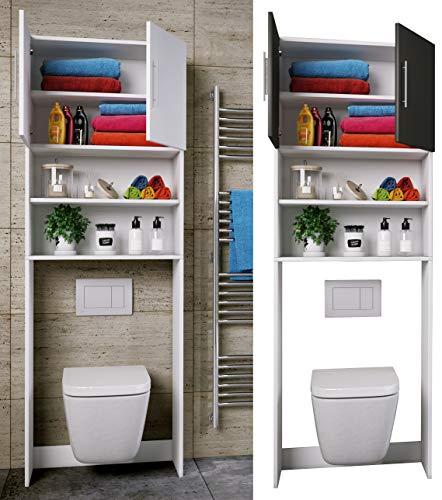 VCM WC Überbauschrank Toilette Schrank Badschrank Badregal Badmöbel Hochschrank Totas 190 x 64 Weiß