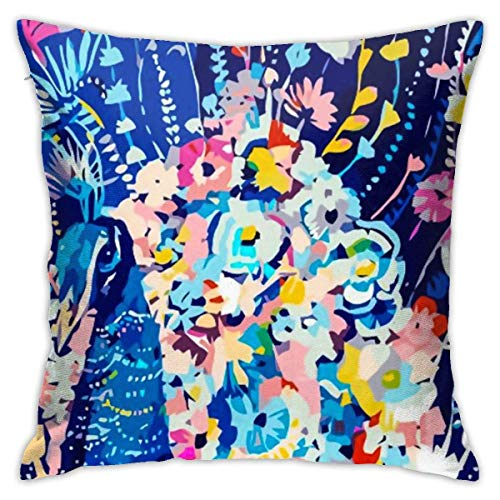 wteqofy Throw Pillow Covers Modern Decorative Throw Pillow Case Peacock Design 1 Pillow Covers Cushion Case for Room Bedroom Room Sofa Chair Car,18 X 18 Inch
