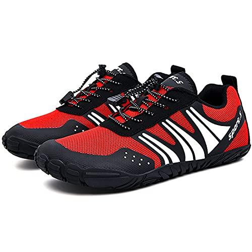 AGYE Zapatillas Bicicleta Calzado de Ciclismo Antideslizante,Zapatos de Bicicleta de Montaña y Carretera Sin Bloqueo para Hombres y Mujeres, Zapatos de Montar con Suela de Goma,Red-EU39