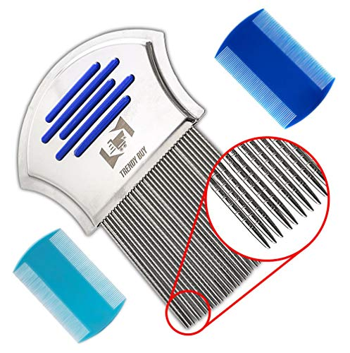 Trendy Lice Comb [Pack of 3]-1 Fine Metal-2 Double Sided Plastic - Head Lice, Dandruff, Eggs and Nits Treatment Kit - Perfect for Thick Hair Lice