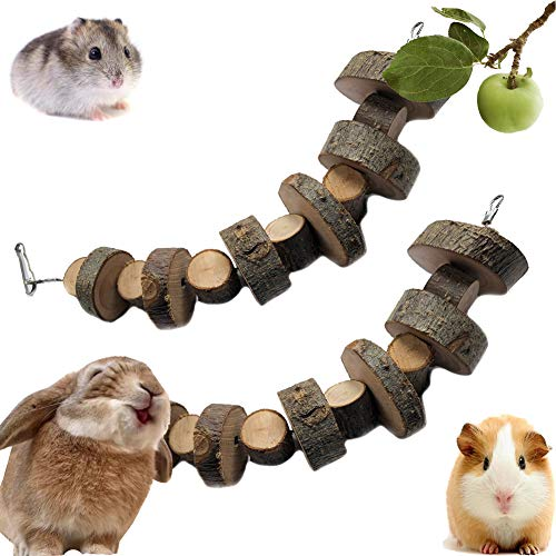 VCZONE Bunny Chew Toys, Rabbit Pet Tooth Chew Toys Organic Natural Apple Wood Grass Cake Ideal for Bunny, Chinchilla, Guinea Pigs, Hamsters Teeth Grinding (2 Pack)