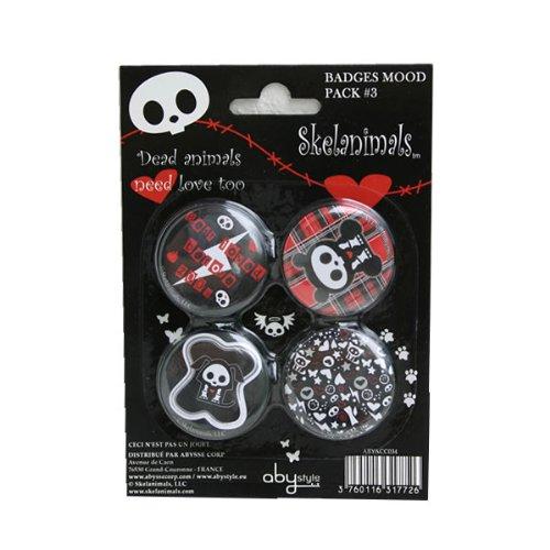 ABYstyle - Skelanimals - ABYACC034 - Loisir Créatif - Pack de 4 Badges Mood Pack - 3 X 5