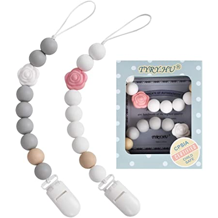 Double grey /& white Silicone Bead Pacifier clip