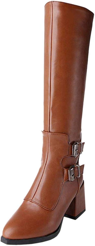 CarziCuzin Women Block Heels Tall Boots Zip