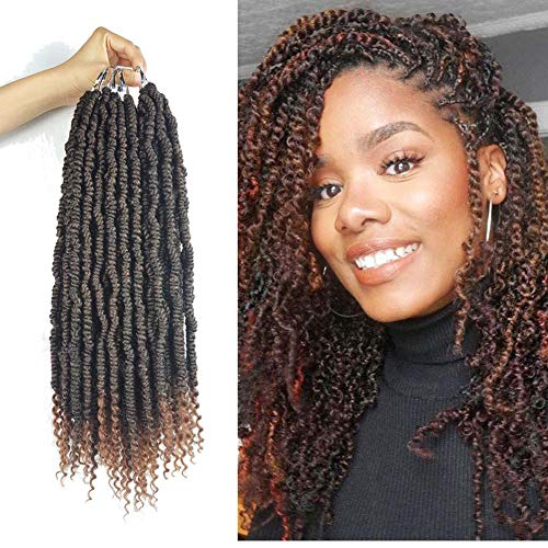 Spring Twist Hair Ombre, 18 inch Senegalese Pre Twisted Spring Twists Crochet Hair Curl End Bomb Twist Crochet Hair 18 inch Water Wave Crochet Braids Full Head 8 Bundles 96 Roots (#T30)