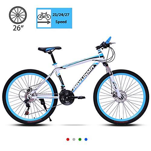 26 Pouces Vélos De Montagne pour Hommes, VTT Semi-Rigide en Acier à Haute Teneur en Carbone, Frein à Disque Double pour VTT, Vélo étudiant Hors Route pour Homme/Femme