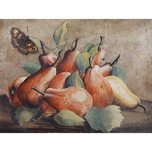 Garzoni Stilleven Peren Vlinder Fruit Voedsel Schilderen Ingelijste Art Print 18X24 In